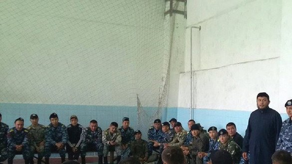 Kyrgyz security personnel May 23 in Osh attend a talk about co-operating with the public in fighting extremism and extremism. [DUMK photo obtained by Bakyt Ibraimov]