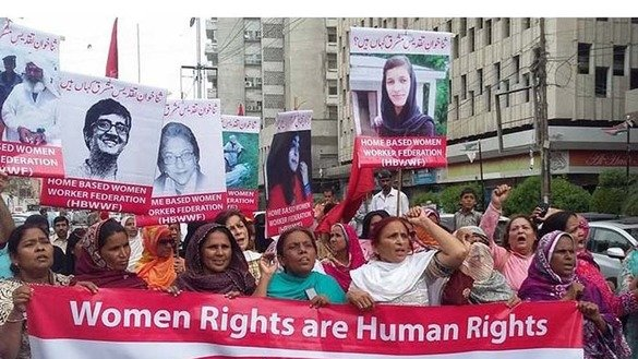 "Civil society activists June 14 in Karachi protest ""honour killings"" that take women's lives. [Zia Ur Rehman]"
