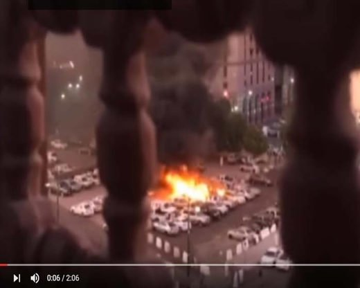 A video grab shows the bombing near the Prophet's Mosque in Medina, Saudi Arabia, July 4. [YouTube video grab]