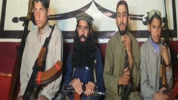 Umar Maray, mastermind of the December 2014 APS massacre in Peshawar, is shown second from left in an undated screenshot. He was killed July 9 in Afghanistan. [Courtesy of Zahir Shah]