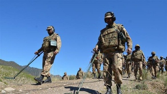 Pakistani forces search for land mines during Operation Zarb-e-Azb in an undated photo. [Courtesy of ISPR]