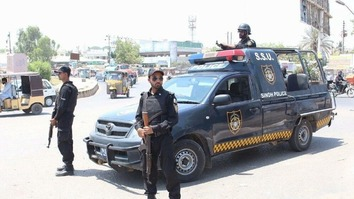 Sindh police remain vigilant in Karachi September 8, days ahead of Eid ul Adha. Pakistani authorities are taking special measures to ensure public safety during the three-day holiday, which begins September 13. [Zia Ur Rehman]
