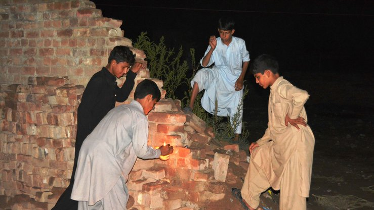 Boys in Khyber Agency play with fireworks September 12. Authorities in the tribal agency are banning such dangerous toys to curb militancy. [Danish Yousafzai]
