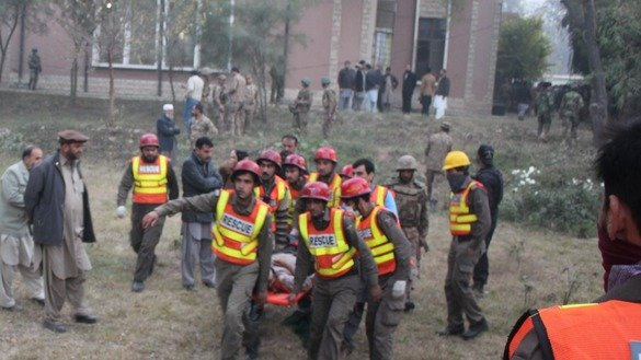 Rescuers in December 2014 in Peshawar respond to the terrorist attack on Army Public School. KP authorities are expanding Rescue 1122 to other parts of the province. [Javed Khan]