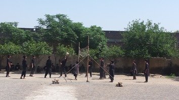 Students in Jamrud, Khyber Agency, play volleyball during a break in the school day October 24. [Danish Yousafzai]
