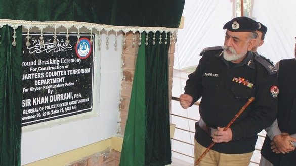 KP Inspector General of Police Nasir Khan Durrani lays the foundation stone of the new KP Counter-Terrorism Department headquarters in Peshawar on November 30. [Javed Khan]