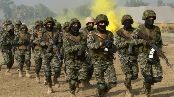 "Pakistani troops participate in ""53rd Frontier Corps Week"" drills in Peshawar on November 19. Troops have wiped out more than 60 terror groups over the past 15 years, leaving no safe havens for their supporters, security analysts say.[A Majeed/AFP]"