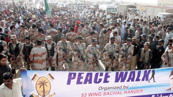 Sindh Rangers march in a peace rally in Karachi on December 4. The Rangers cited remarkable achievements in 2016 in their annual operations report. [Zia Ur Rehman]