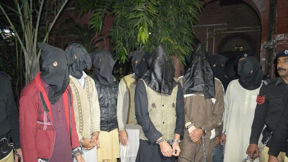 Punjab Police in December in Lahore present suspected militants at the local Anti-Terrorism Court. Police arrested thousands of suspected militants in Punjab in 2016. [Photo courtesy of Javed Mahmood]