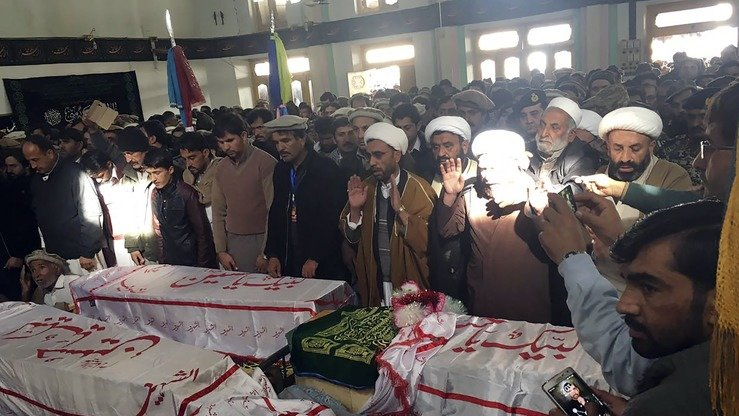 Mourners Saturday (January 21) offer funeral prayers for the victims of a terrorist attack in Parachinar, Kurram Agency, that day. At least 24 people were killed by a bomb in a mainly Shia area of the Federally Administered Tribal Areas (FATA). [ALI JAN/AFP]