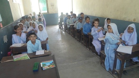 Lahore fourth-graders are pictured November 6. The Punjab  provincial government is tightening school security after increasing demands from parents and schoolteachers. [Amna Nasir Jamal]