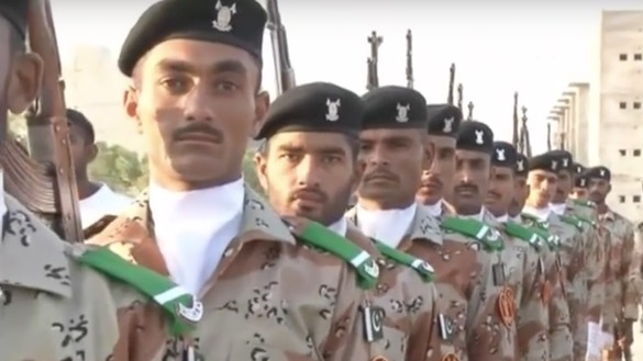 A screen shot from an official video shows Pakistani Rangers at a military parade in 2016. Expectations are high that their deployment in Punjab will stem the uptick in militant attacks.