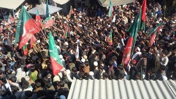 Pakistan Tehreek-e-Insaf (PTI) activists rally for reforms in Bajaur Agency January 17. [PTI]