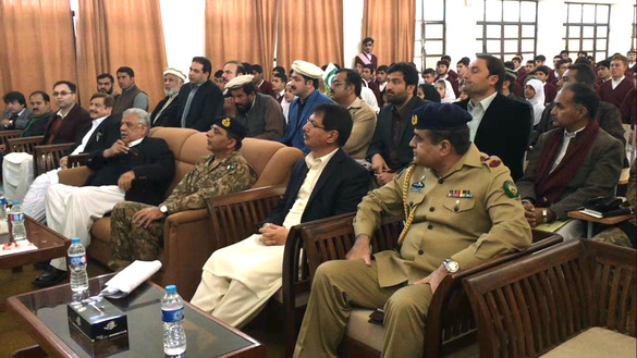 Khyber Pakhtunkhwa (KP) Governor Iqbal Zafar Jhagra (fourth from right) attends a jirga in Miranshah in February. North Waziristan is recovering after troops expelled militants from the tribal agency. [Courtesy of Syed Ansar Abbas]