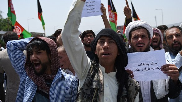 Afghan protesters shout slogans at an anti-Taliban demonstration in Kabul last June 2. [Wakil Kohsar/AFP]