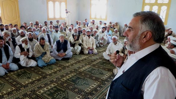 Political administration official Saz Muhammad Khan addressing a tribal jirga in Salarzai area of Bajaur Agency on July 25, 2016. Military operations targeting militants have made the tribal areas safer for elders who vocally oppose the Taliban and other terrorist groups. [Hanif Ullah]