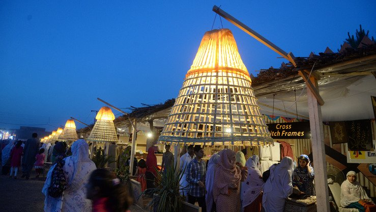 The Hunar Mela is shown at night May 9. [Shahbaz Butt]