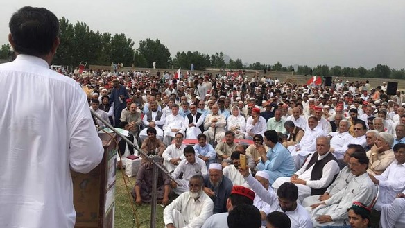 A speaker addresses a gathering in Swabi District, Khyber Pakhtunkhwa, May 21 in observance of the 40th day of mourning for Mashal Khan. The Abdul Wali Khan University student was killed by a mob April 13 over accusations of blasphemy. [Javed Khan]