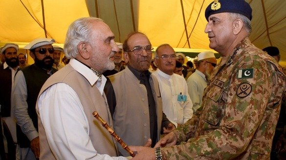 Pakistani army chief Gen. Qamar Javed Bajwa on June 30 confers with tribal elders in Parachinar, Kurram Agency. Bajwa listened to elders' concerns about recent terrorist attacks and announced additional security measures aimed at improving the situation. [Courtesy of Inter-Services Public Relations]