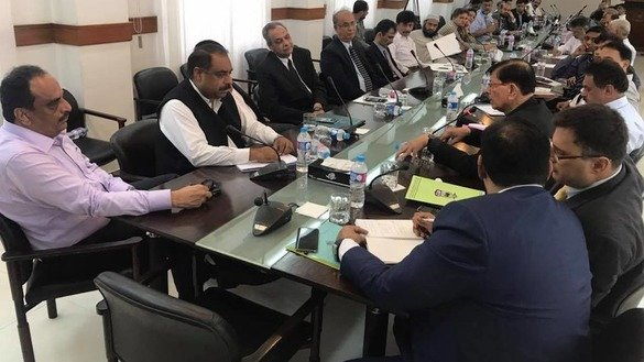 Sindh Police Counter Terrorism Department (CTD) officials July 12 in Karachi confer with representatives of the province's 40 universities. Participants discussed ways to fight militancy among university students. [Zia Ur Rehman]