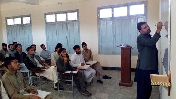 FATA University students attend class during their second semester in February. The university is preparing to kick off its second academic session in September. [Javed Khan]