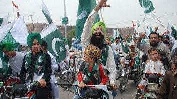 A Sikh chants slogans along with his other countrymen during Independence Day celebrations in Peshawar on August 14. [Muhammad Shakil]