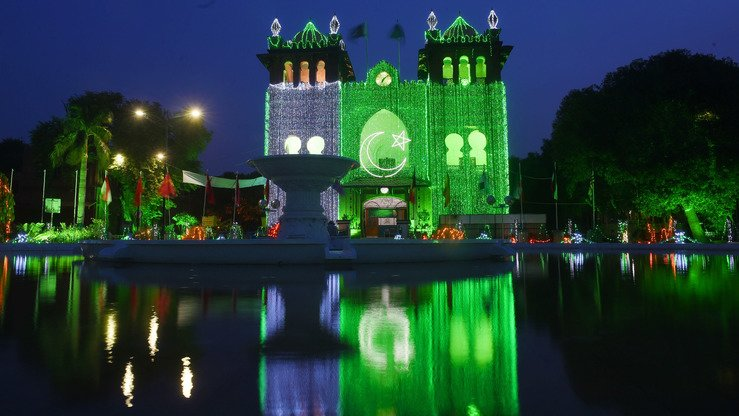 Lahore is shown August 13, lit up in anticipation of Independence Day one day later. The holiday celebrates Pakistan's independence from British rule in 1947.