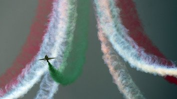 An aerobatics team August 14 in Islamabad performs to mark Pakistan's Independence Day. The country is celebrating its 70th anniversary of independence from Great Britain.