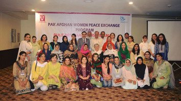 Peace activists from Pakistan and Afghanistan pose for a group photo during the Pak-Afghan Women Peace Exchange Programme, held in Islamabad July 17-21[Photo courtesy of Azra Nafees Yousafzai]