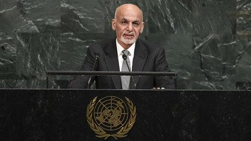 Afghan President Ashraf Ghani addresses the UN General Assembly September 19. Ghani called on Afghanistan's partners to help fight extremism. [Jewel Samad/AFP]
