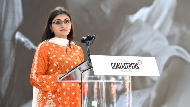Human rights activist Gulalai Ismail speaks speaks at Goalkeepers 2017, at Jazz at Lincoln Center on September 20, 2017 in New York City. [Jamie McCarthy/ GETTY IMAGES NORTH AMERICA / AFP]