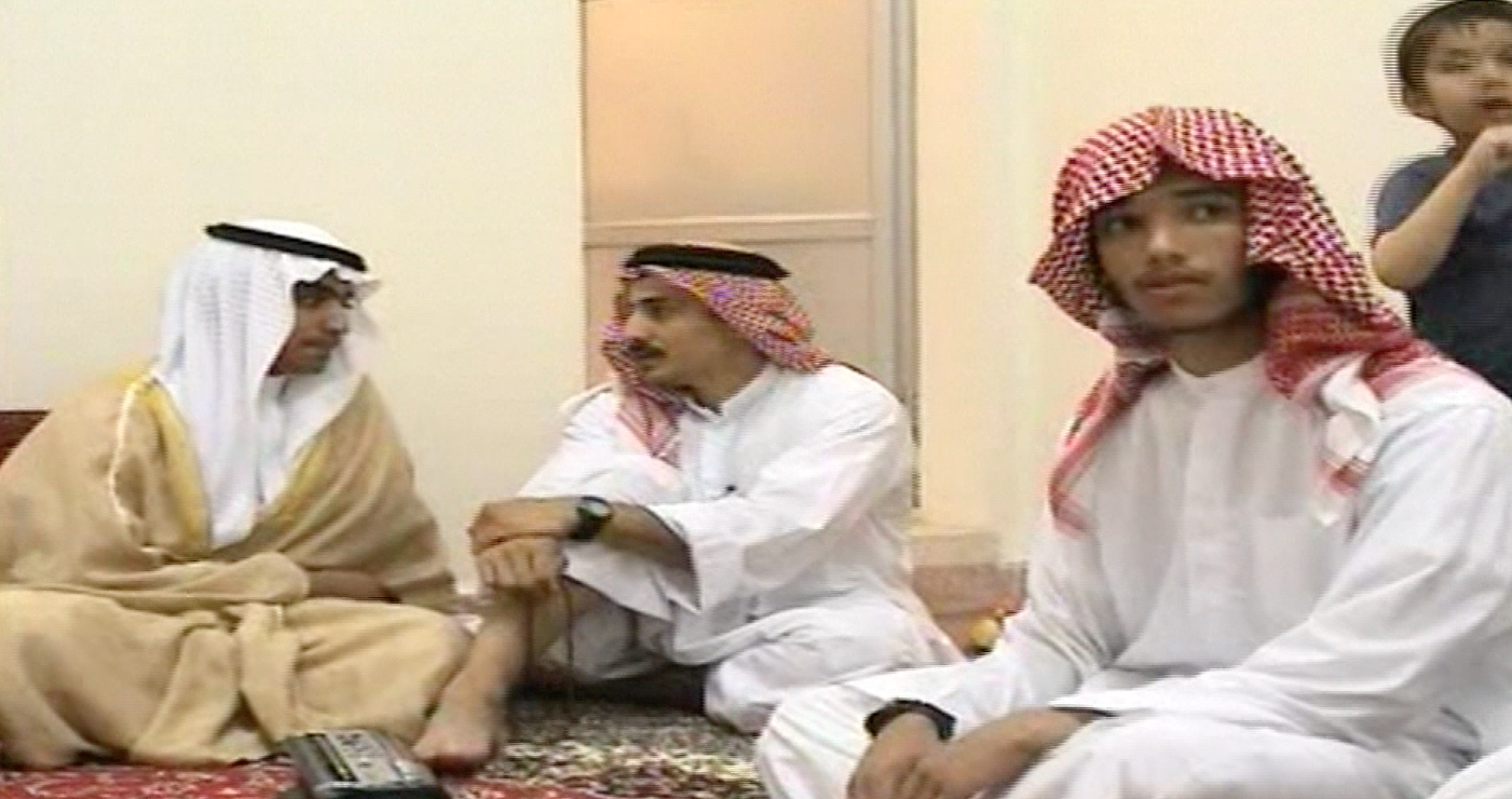 Hamza bin Laden (left), the son of late al-Qaeda leader Osama bin Laden, celebrates his wedding in Iran in screenshot taken from a video released by the CIA November 1.