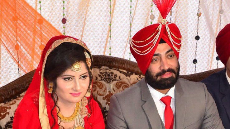 Maj. Harchem Singh, the first Sikh Pakistani army officer, poses with his bride on their wedding day December 3 in Hasan Abdal. Singh's rise in the ranks is symbolic of the military's opportunities for all Pakistanis, says the army. [ISPR]