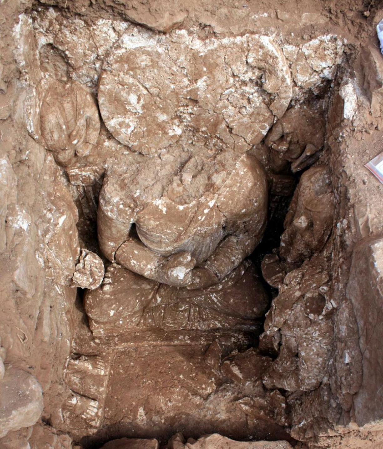 A view of the world's oldest Buddha statue, recently discovered in Khyber Pakhtunkhwa. [KP Directorate of Archaeology]