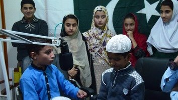 Children from Peshawar participate in a live show on Pakhtunkhwa Radio Peshawar on November 23. Pakhtunkhwa Radio broadcasts special educational programmes for children to promote peace and the region's rich cultural diversity. [Danish Yousafzai]