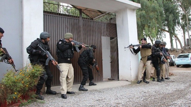 KP Police carry out a mock security exercise in Hayatabad December 14. [KP Police]