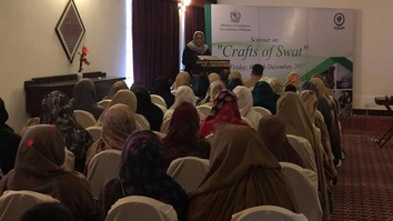 Swat Women Chamber of Commerce President  Musarrat Ahmadzeb addresses a seminar in Swat District last December 9. [Courtesy of Musarrat Ahmadzeb]
