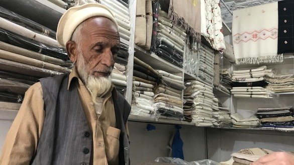 Haji Hashim Khan, 64, a local shopkeeper associated with the shawl industry for more than 50 years, says that business is booming after the restoration of peace in Swat Valley. [Danish Yousafzai]