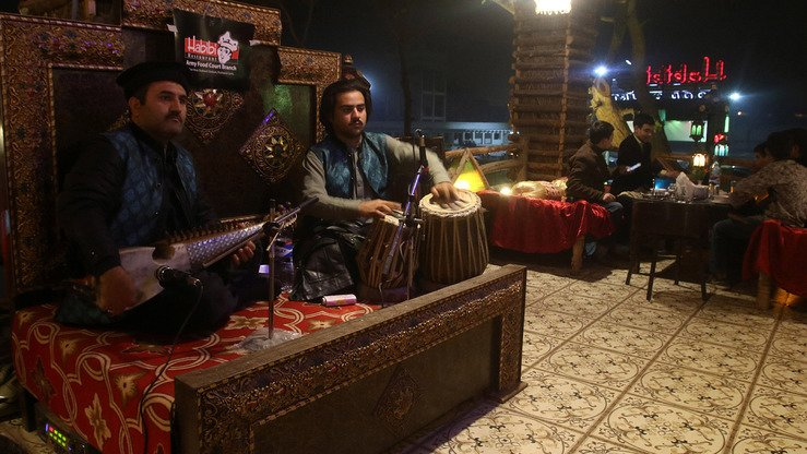 Pashtun musicians perform at the Habibi restaurant in Peshawar January 10. [Syed Ansar Abbas]