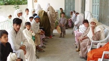 Patients wait at the Sholam Hospital in South Waziristan Agency January 7. The hospital reopened last July after being closed for four years. [FATA Secretariat]