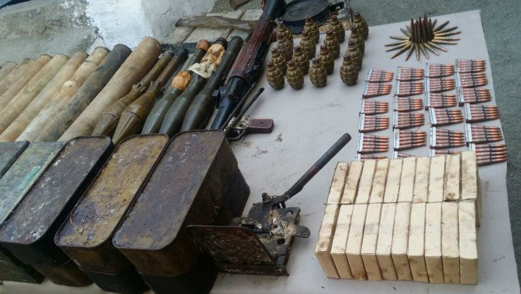 Pakistani security forces January 29 seized a large quantity of arms and ammunition (shown in photo) in Shakai Tehsil, South Waziristan Agency, according to ISPR. [ISPR]