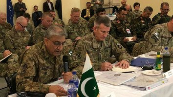 NATO Resolute Support Mission Commander Gen. John Nicholson, along with a number of military officials from the region and the United States, listen to Pakistani Chief Of Army Staff Gen. Qamar Javed Bajwa at a security conference in Kabul Tuesday (February 13). [ISPR]