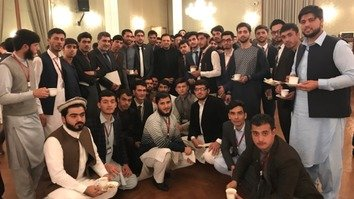 Afghan Ambassador to Pakistan Omar Zakhilwal February 27 in Islamabad poses with Afghan students awarded scholarships to study in Pakistan. [Omar Zakhilwal/Twitter]