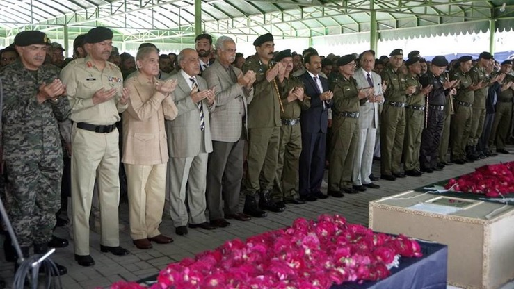 Punjab Chief Minister Shehbaz Sharif and other civil and military officials participate in funeral prayers March 15 in Lahore for those killed in a suicide bombing in nearby Raiwand one day earlier. [Abdul Nasir Khan]