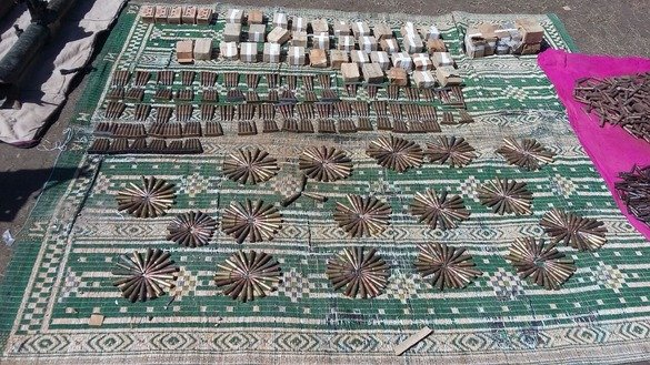Authorities display ammunition that they seized in Kurram Agency April 10. [ISPR]