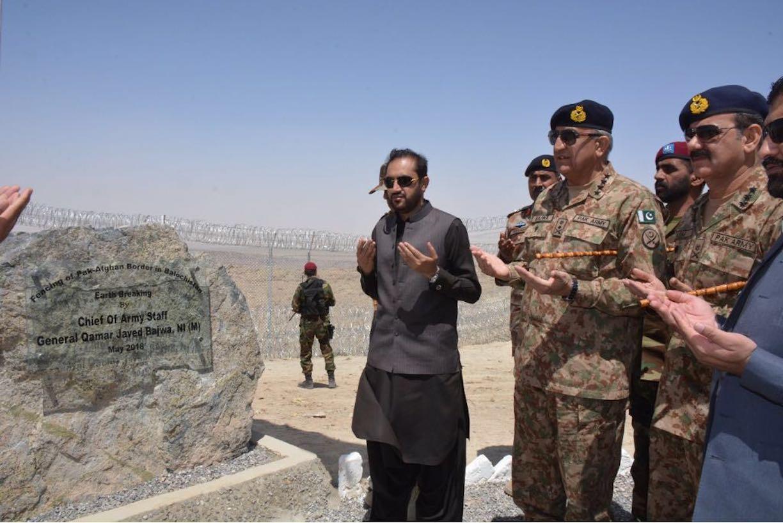 Bajwa breaks ground on Pakistani-Afghan border fence in Balochistan