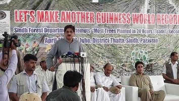 Sindh Chief Minister Murad Ali Shah addresses the opening ceremony of a mangrove planting campaign on an island near Keti Bandar in Thatta District, Sindh Province, April 18. [Amna Nasir Jamal]