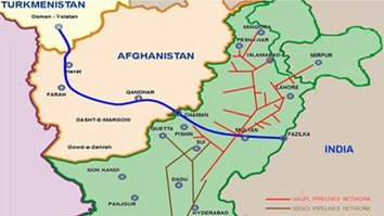 A map showing the planned route for the TAPI pipeline from Turkmenistan to India, via Afghanistan and Pakistan. [ISGR]