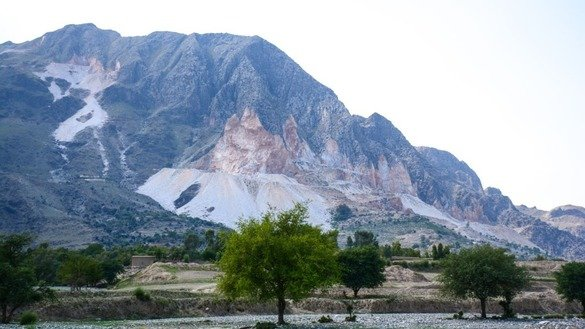 A mountain with marble deposits in Mohmand Agency can be seen in this picture taken in May. [Alamgir Khan]