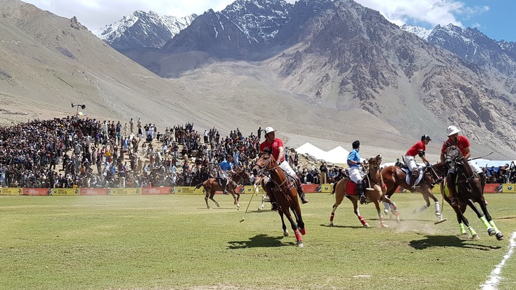 Chitral and Gilgit-Baltistan face off in a freestyle polo match July 9. Players of both teams practice throughout the year for the annual Shandur Polo Festival. [Danish Yousafzai]